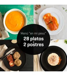 """Menú """"en mi peso"""" 28 platos + 2 postres"""