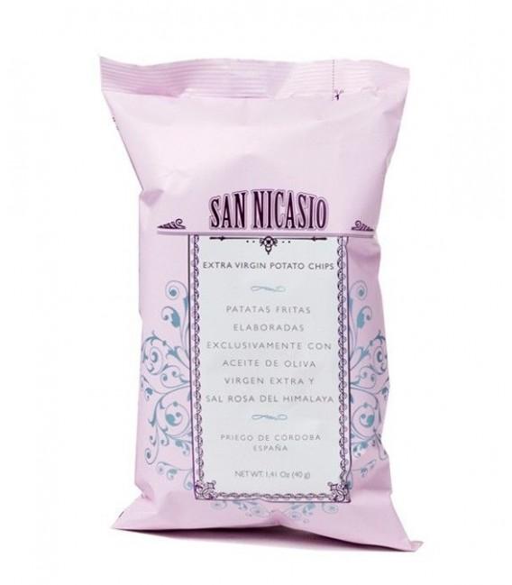 Patatas fritas en aceite de oliva virgen y sal rosa del Himalaya San Nicasio - 40 g.