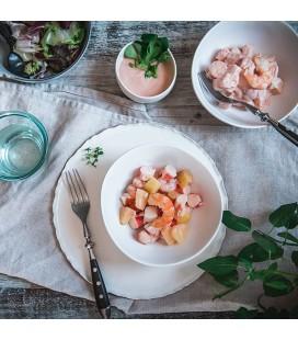 Cocktail de marisco, manzana y piña