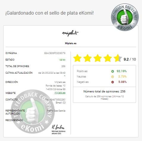 Calificación eKomi de Miplato